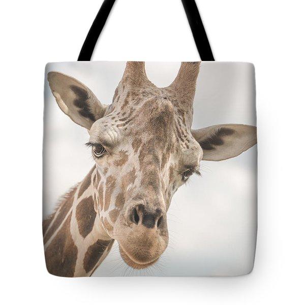 Hi There, I'm A Giraffe Tote Bag by David Collins