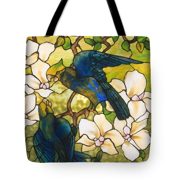Hibiscus And Parrots Tote Bag by Louis Comfort Tiffany