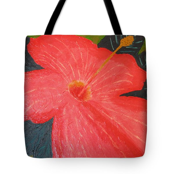 Tote Bag featuring the painting Hibiscus by Barbara Yearty
