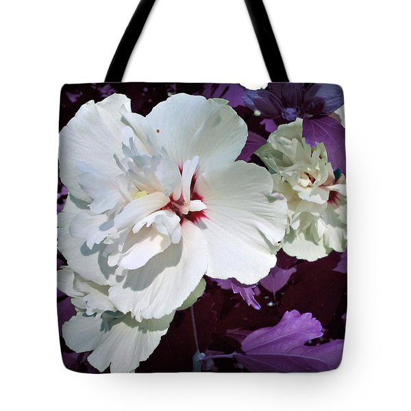 Tote Bag featuring the photograph Hibiscus - Circa 2006 Saratoga, Ny by Iowan Stone-Flowers