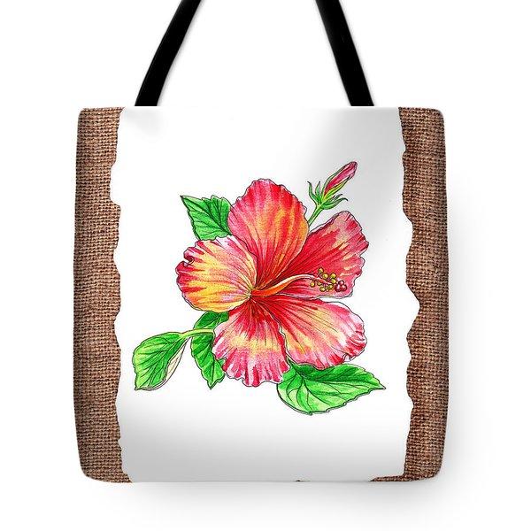 Hibiscus Flower Botanical Tote Bag