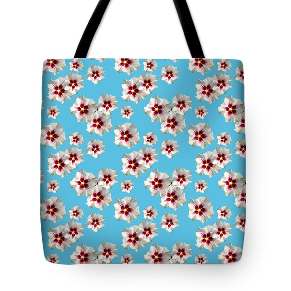 Tote Bag featuring the mixed media Hibiscus Flower Pattern by Christina Rollo