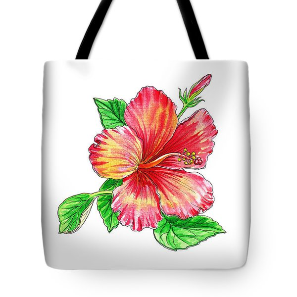 Hibiscus Flower White Background Tote Bag
