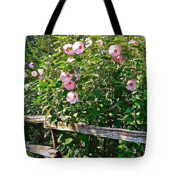 Hibiscus Hedge Tote Bag by Randy Rosenberger