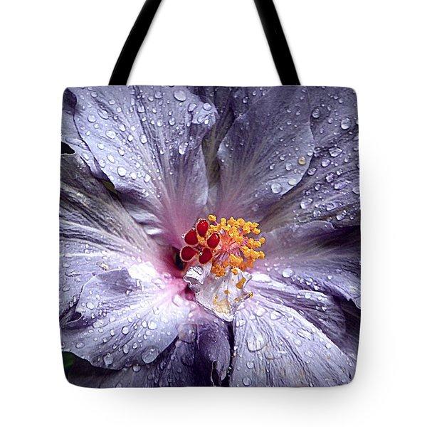 Hibiscus In The Rain Tote Bag