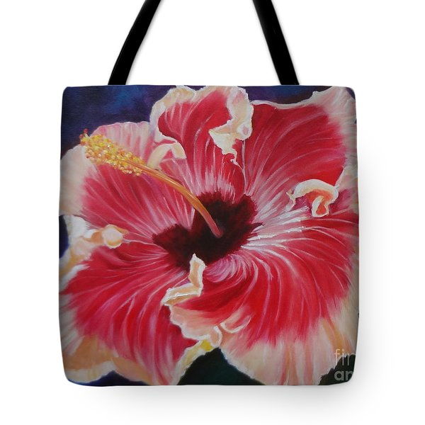 Tote Bag featuring the painting Hibiscus by Jenny Lee