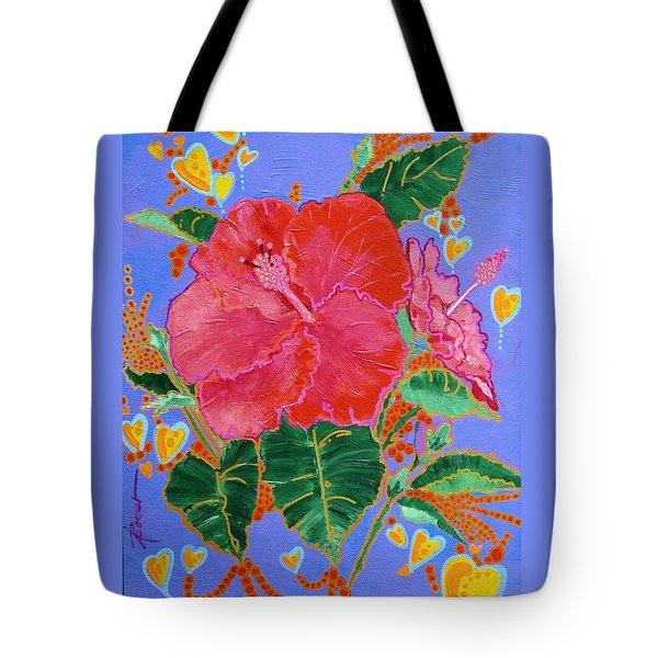 Hibiscus Motif Tote Bag