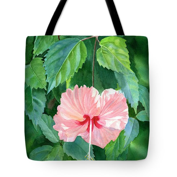 Hibiscus Sprinkle Rain With Leafy Background Tote Bag