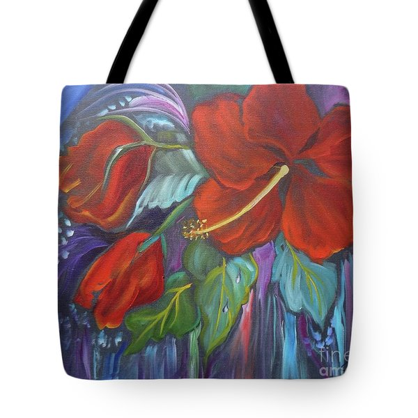 Hibiscus Whimsy Tote Bag