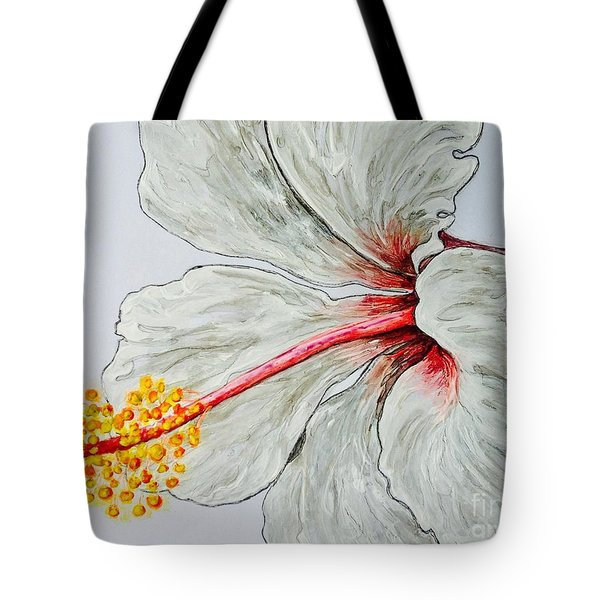 Hibiscus White And Red Tote Bag by Sheron Petrie