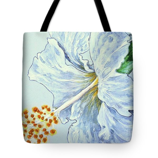 Hibiscus White And Yellow Tote Bag by Sheron Petrie