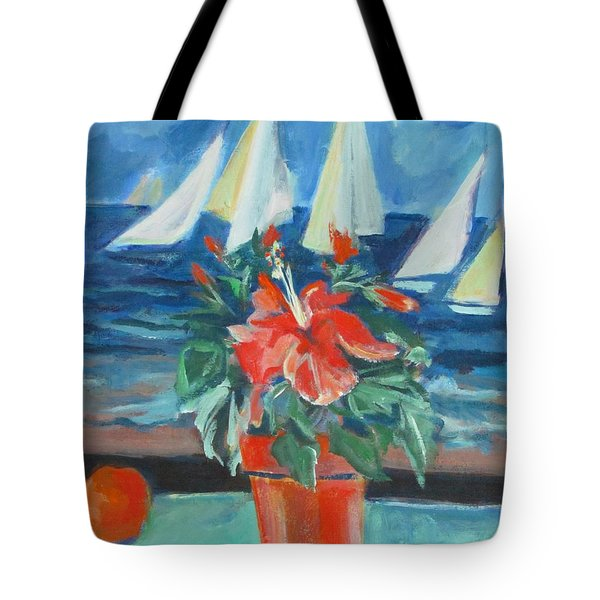 Hibiscus With An Orange And Sails For Breakfast Tote Bag