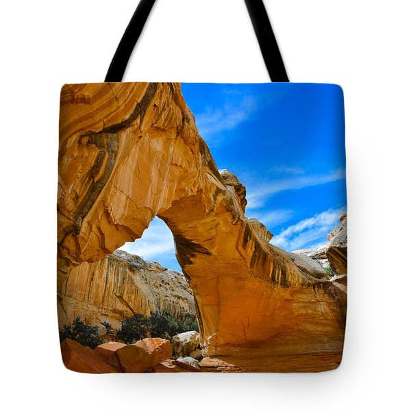 Tote Bag featuring the photograph Hickman Bridge Natural Arch - Capitol Reef National Park by Dany Lison