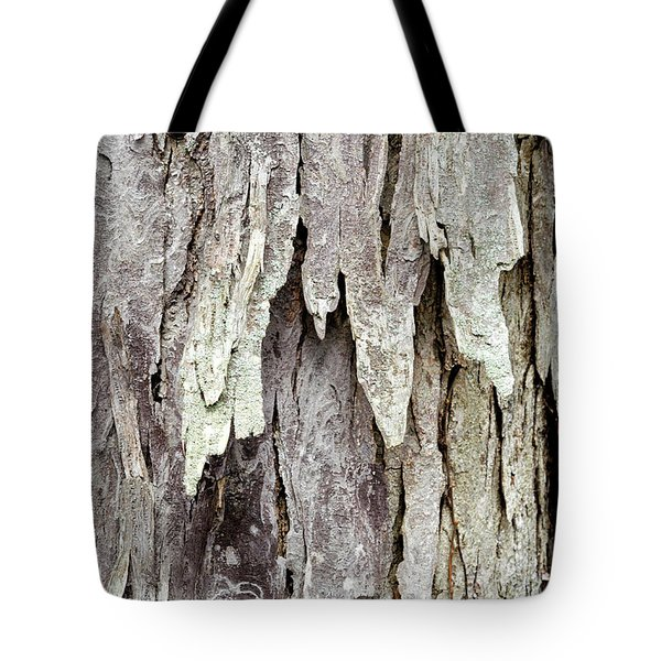 Tote Bag featuring the photograph Hickory Tree Bark Abstract by Christina Rollo