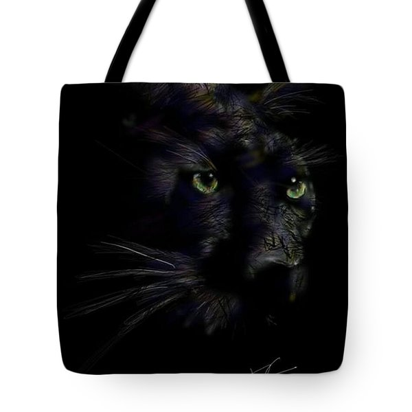 Tote Bag featuring the digital art Hidden Cat by Darren Cannell
