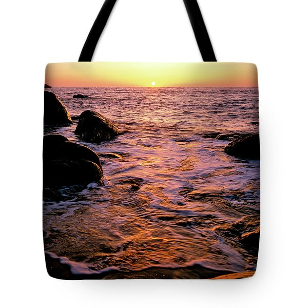 Hidden Cove Sunset Redwood National Park Tote Bag by Ed  Riche
