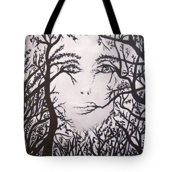 Hidden Face Tote Bag by Teresa Wing