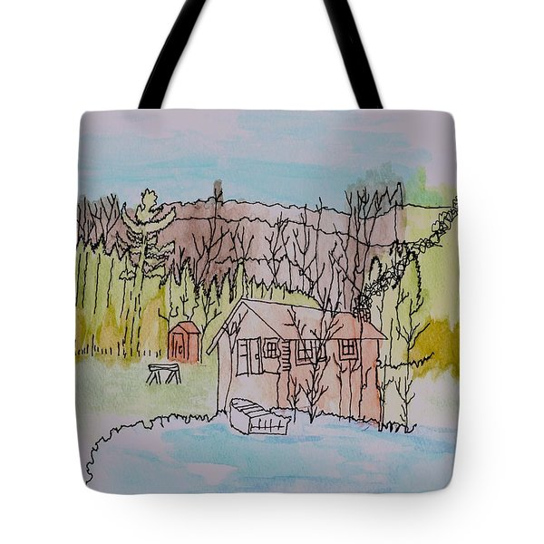 Tote Bag featuring the painting Hidden Lake                      by Connie Valasco