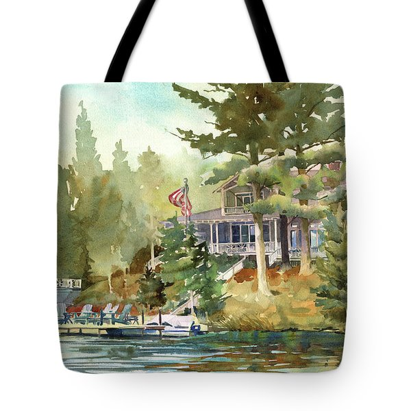 Tote Bag featuring the painting Hidden Lake by Kris Parins