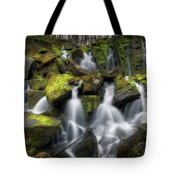 Tote Bag featuring the photograph Hidden Mossy Falls by Bill Wakeley