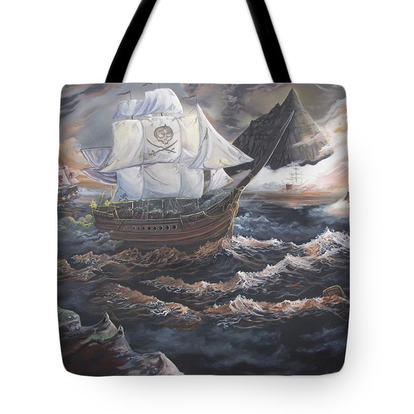 Tote Bag featuring the painting Hidden Skull Cove by Kevin F Heuman