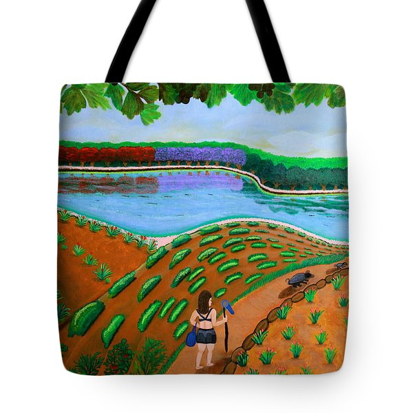 Hidden Water From Above Tote Bag by Lorna Maza