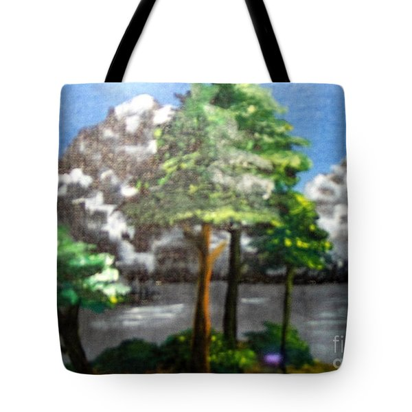 Tote Bag featuring the painting Hideaway by Saundra Johnson