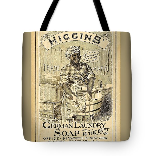 Tote Bag featuring the digital art Higgins German Laundry Soap by ReInVintaged