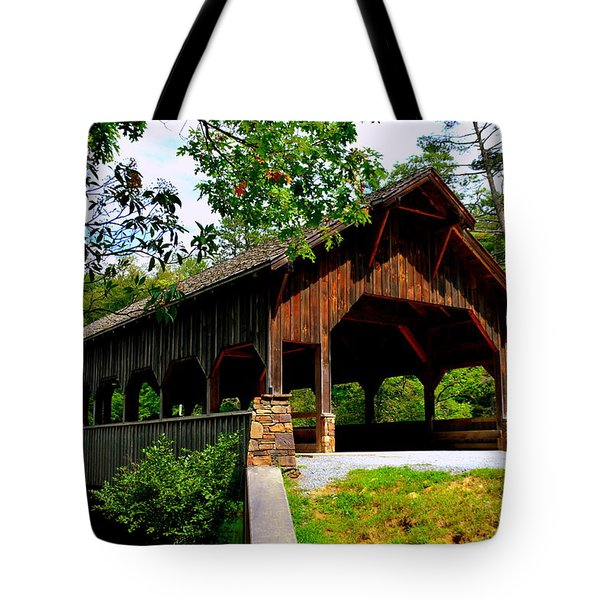 Tote Bag featuring the photograph High Falls Covered Bridge by Lisa Wooten
