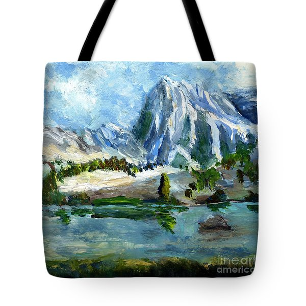 High Lake First Snow Tote Bag by Randy Sprout