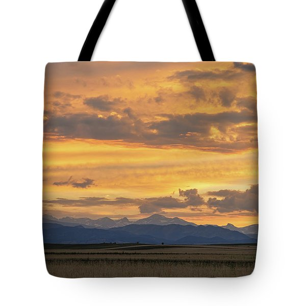 Tote Bag featuring the photograph High Plains Meet The Rocky Mountains At Sunset by James BO Insogna
