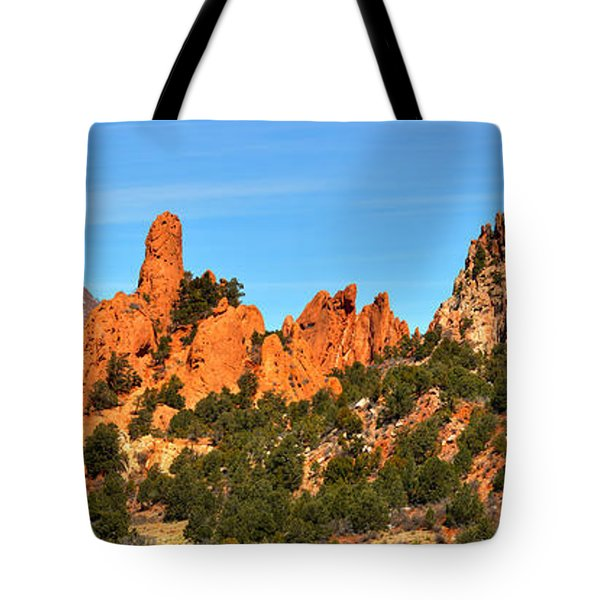 Tote Bag featuring the photograph High Point Panorama At Garden Of The Gods by Adam Jewell