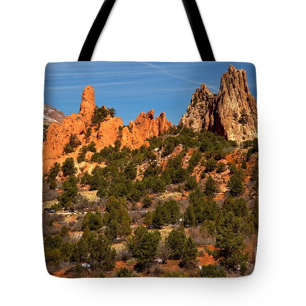 Tote Bag featuring the photograph High Point Rock Towers by Adam Jewell