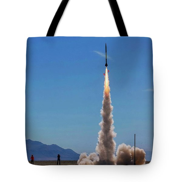 Tote Bag featuring the photograph High Power Rocket Certification Flight by Peter Thoeny