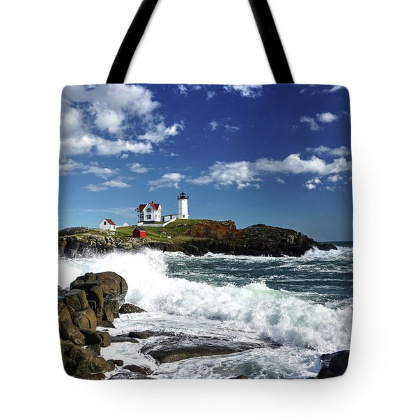 Tote Bag featuring the photograph High Surf At Nubble Light by Wayne Marshall Chase