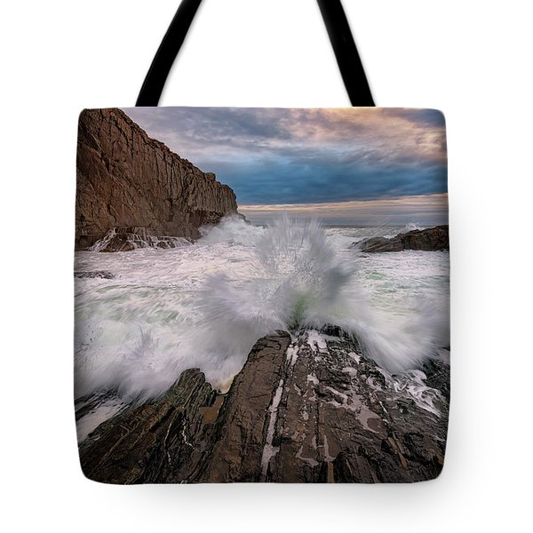 High Tide At Bald Head Cliff Tote Bag by Rick Berk