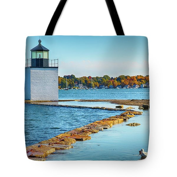 Tote Bag featuring the photograph High Tide At Derby Wharf In Salem by Jeff Folger