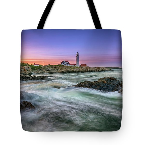 High Tide At Portland Head Lighthouse Tote Bag