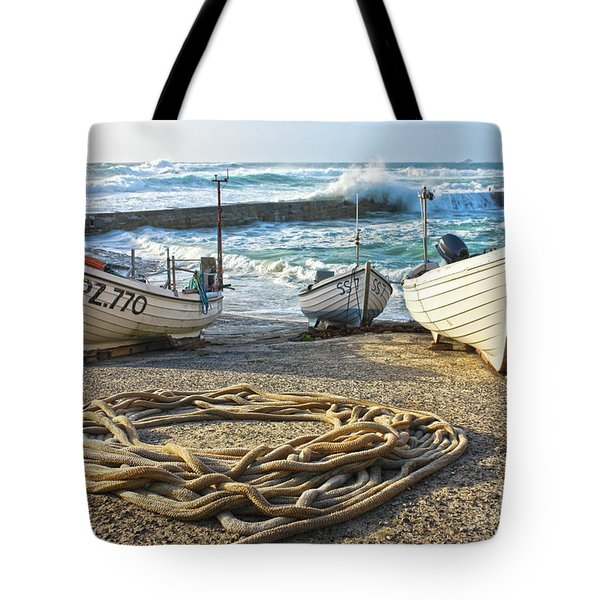 Tote Bag featuring the photograph High Tide In Sennen Cove Cornwall by Terri Waters