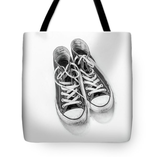 Tote Bag featuring the digital art High Tops In Snow Black And White by Randy Steele