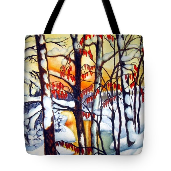 Tote Bag featuring the painting Highland Creek Sunset 1 by Inese Poga