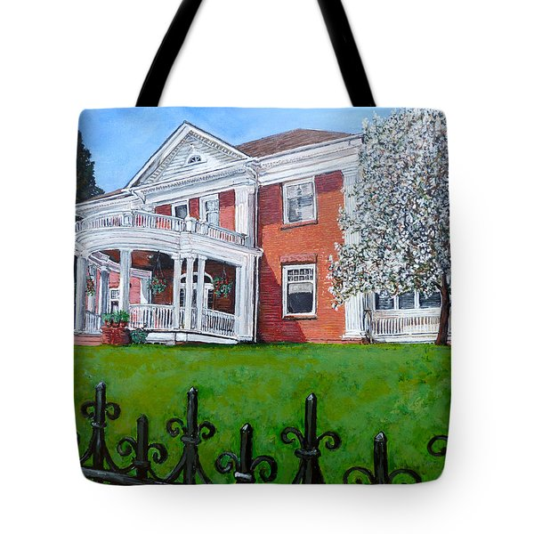 Tote Bag featuring the painting Highland Homestead by Tom Roderick