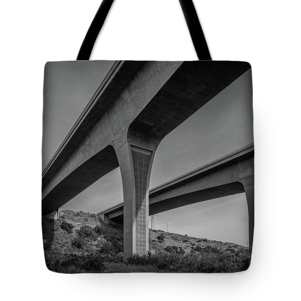 Highway 52 Over Spring Canyon, Black And White Tote Bag