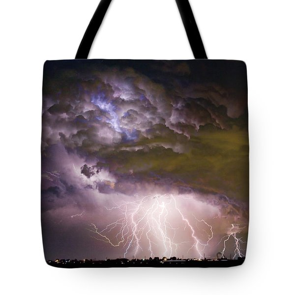 Highway 52 Storm Cell - Two And Half Minutes Lightning Strikes Tote Bag by James BO  Insogna