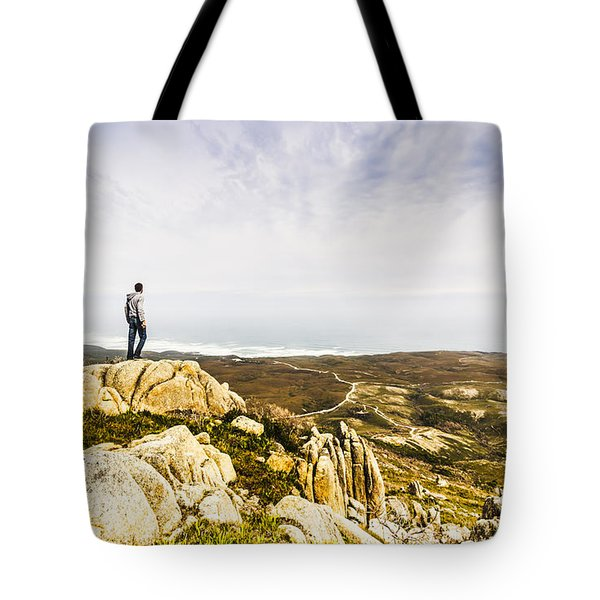 Hiker Man On Top Of A Mountain Tote Bag