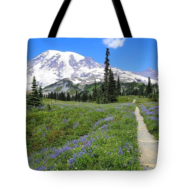 Hiking In The Wildflowers Tote Bag