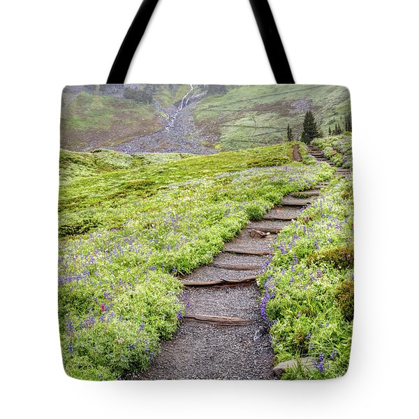 Tote Bag featuring the photograph Hiking Mount Rainier In The Fog by Pierre Leclerc Photography