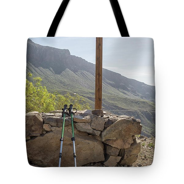 Hiking Poles Resting Near Sign Tote Bag