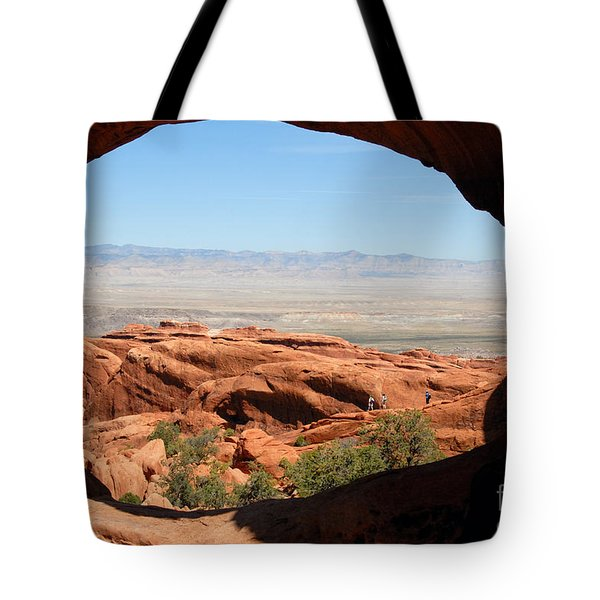 Hiking Through Arches Tote Bag by David Lee Thompson