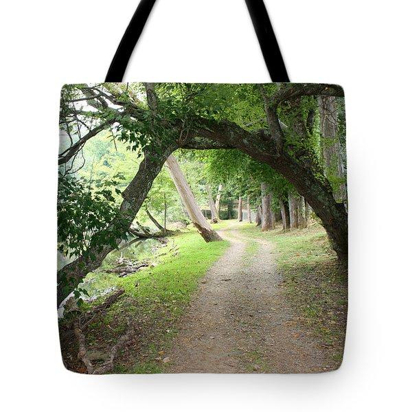 Hiking Trail And Road Tote Bag